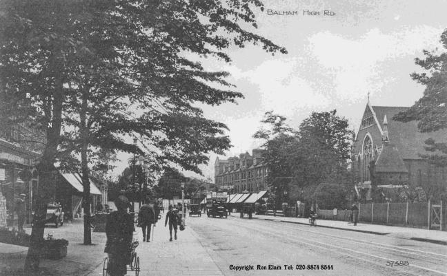 Balham High Road, looking southwest towards Tooting Bec, as it was just after First World War (Courtesy of Ron Elam. If you would like to buy a copy, phone 020 8874 8544)