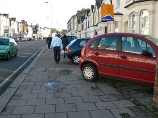 Cars parked on the pavement, Garratt Lane