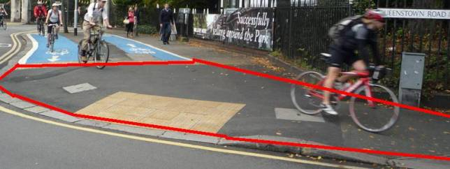 Queenstown Circus, Battersea: Cycle route on pavement