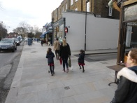 Pedestrians have priority: Bromells Road Clapham Common