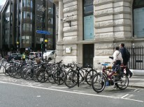 Cycle parking on the carriageway, London