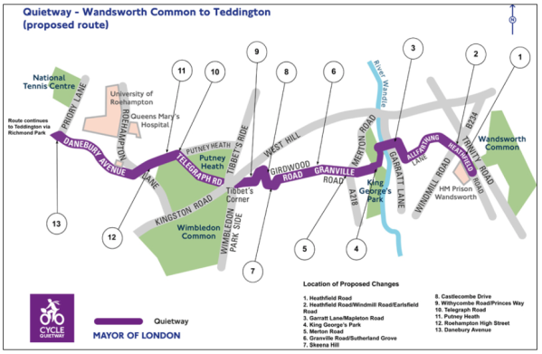 map of Quietway route